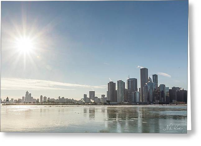Sun Setting Over Chicago Greeting Card