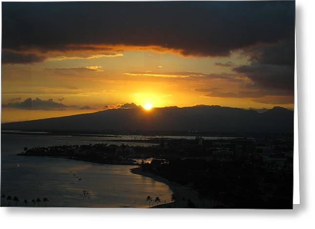Sun Setting Over Honolulu Greeting Card by Ashley Butler