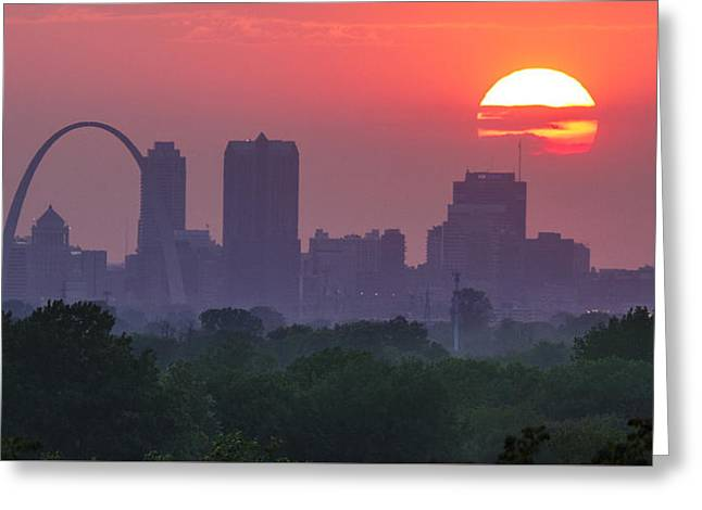 Sun Setting Over St Louis Greeting Card