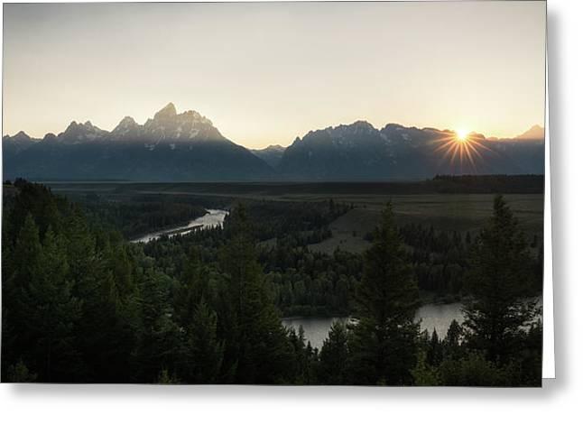 Sun Setting Over The Teton Range Greeting Card