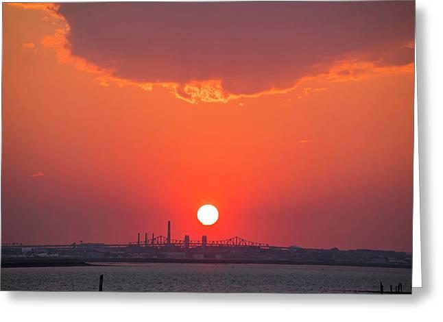 Sun Setting Over The Tobin Bridge From Winthrop Ma Greeting Card