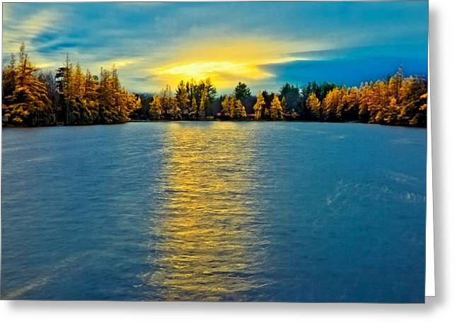 Sun Setting Over Woodcraft Camp Greeting Card by David Patterson