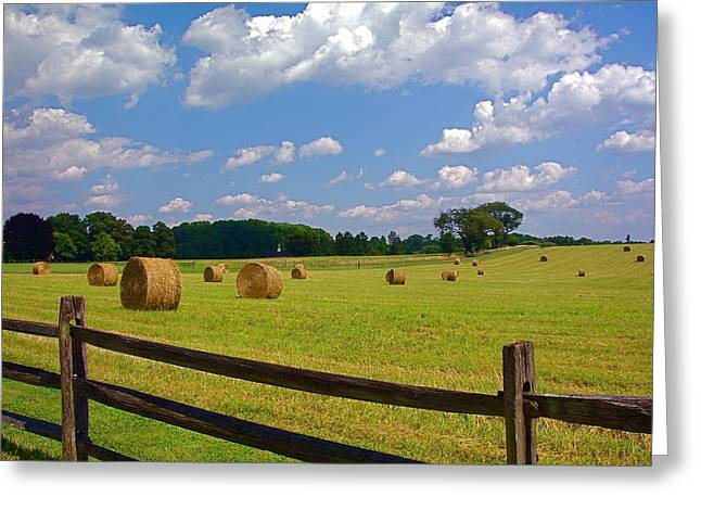 Greeting Card featuring the photograph Sun Shone Hay Made by Byron Varvarigos