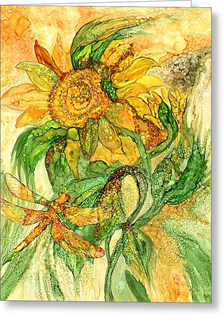 Sun Spirits - Sunflower And Dragonfly Greeting Card by Carol Cavalaris