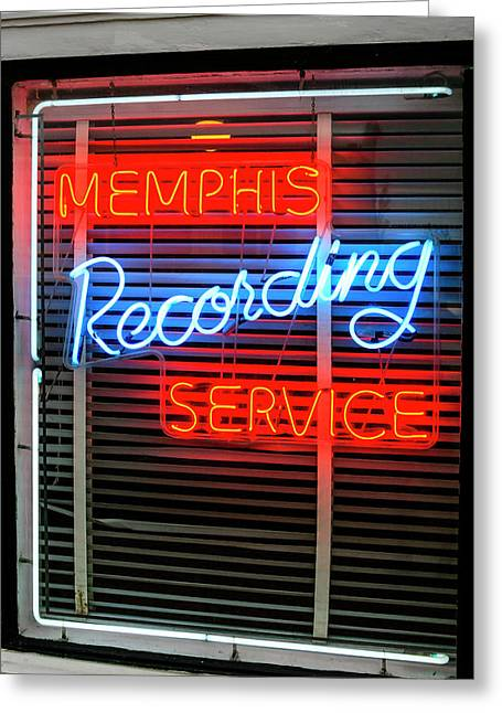 Sun Studio Neon Sign Memphis Greeting Card by Chris Smith