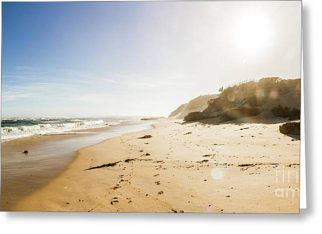 Sun Surf And Empty Beach Sand Greeting Card by Jorgo Photography - Wall Art Gallery