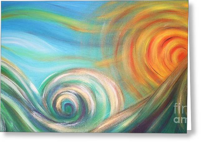 Sun Surf Sky Greeting Card by Reina Cottier