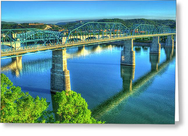 Sun Up Reflections Chattanooga Tennessee Greeting Card by Reid Callaway