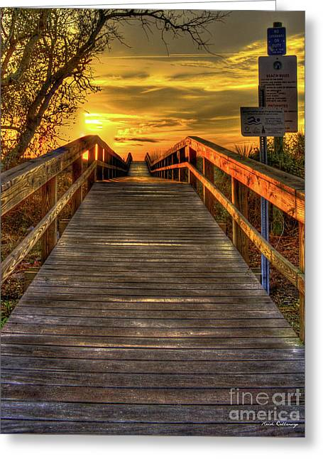 Sunbathing Ahead Tybee Island Sunrise Tybee Island Collection Art Greeting Card by Reid Callaway