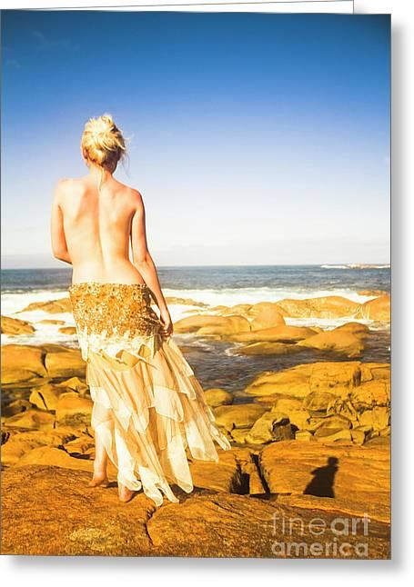 Sunbathing By The Sea Greeting Card