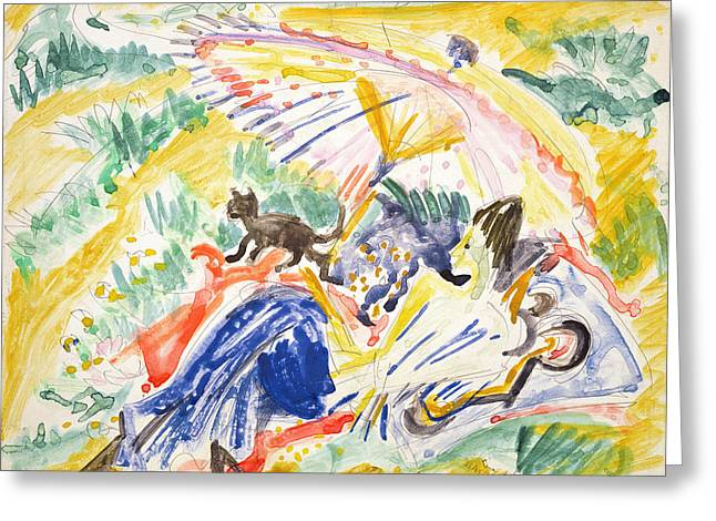 Sunbathing Greeting Card by Ernst Ludwig Kirchner
