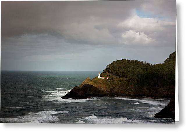 Greeting Card featuring the photograph Sunbeam On The Lighthouse by Mary Jo Allen