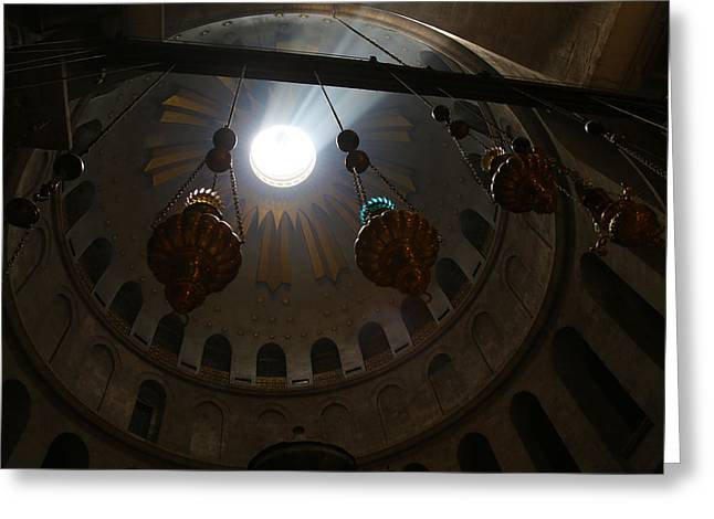 Sunbeams At The Church Of The Holy Sepulchre Greeting Card by Heidi Pix