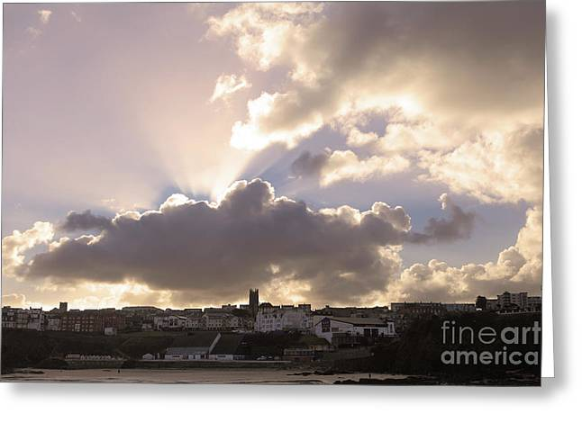 Greeting Card featuring the photograph Sunbeams Over Church In Color by Nicholas Burningham