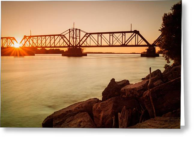Sunbeams Through Iron Work Over The Niagara Greeting Card by Chris Bordeleau