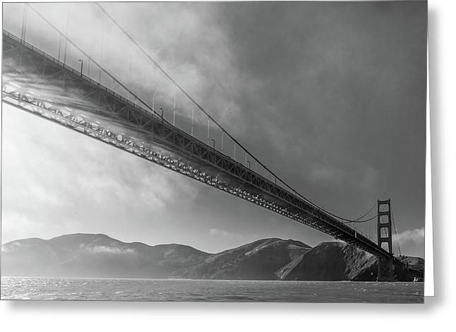 Sunbeams Through The Golden Gate Black And White Greeting Card by Scott Campbell