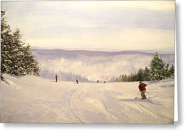 Greeting Card featuring the painting sunbowl at Stratton Mountain Vermont by Ken Ahlering