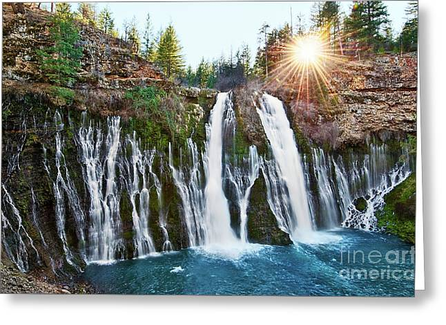 Sunburst Falls - Burney Falls Is One Of The Most Beautiful Waterfalls In California Greeting Card