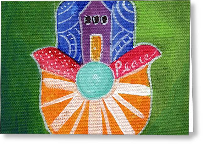 Sunburst Hamsa Greeting Card by Linda Woods