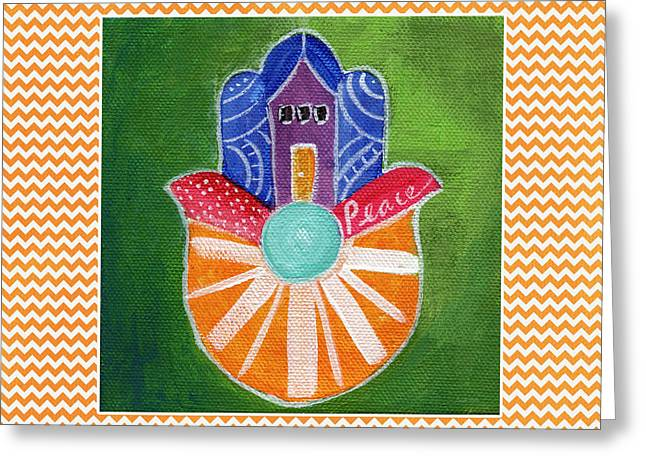 Sunburst Hamsa With Chevron Border Greeting Card by Linda Woods