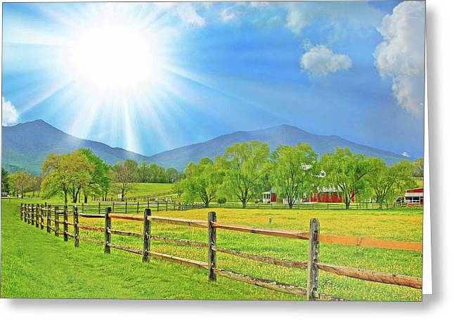 Sunburst Over Peaks Of Otter, Virginia Greeting Card by The American Shutterbug Society
