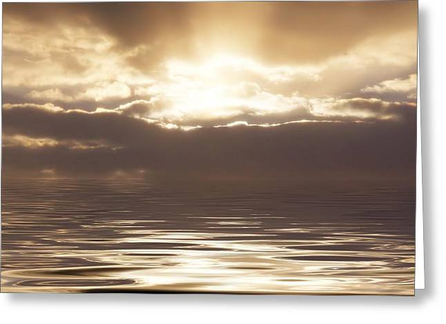 Sunburst Over Water Greeting Card by Bill Cannon