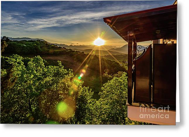 Sunburst View From Dellas Boutique Hotel Near Meteora In Kastraki, Kalambaka, Greece Greeting Card