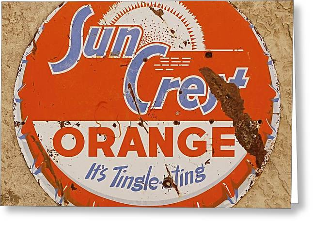 Suncrest Orange Soda Cap Sign Greeting Card