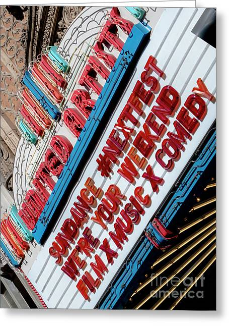 Sundance Next Fest Theatre Sign 2 Greeting Card