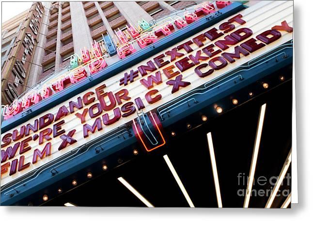 Sundance Next Fest Theatre Sign 3 Greeting Card