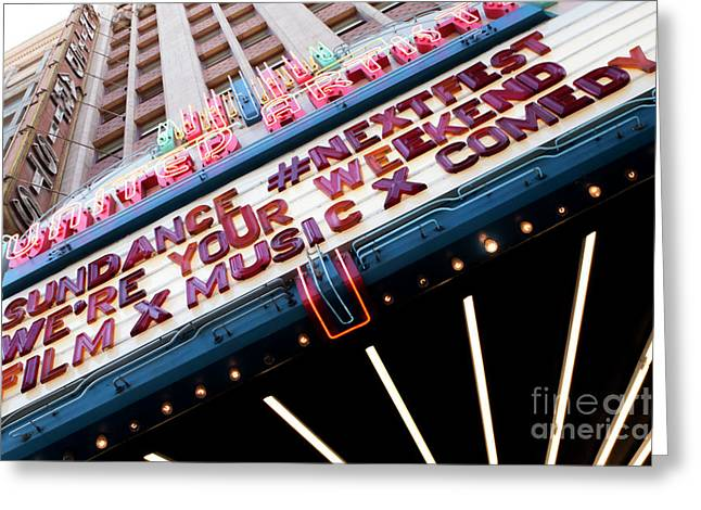 Sundance Next Fest Theatre Sign 3 Greeting Card