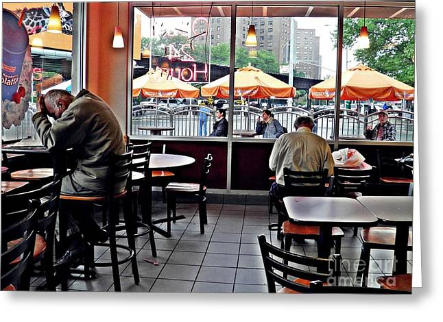 Sunday Afternoon At Dunkin Donuts Greeting Card by Sarah Loft