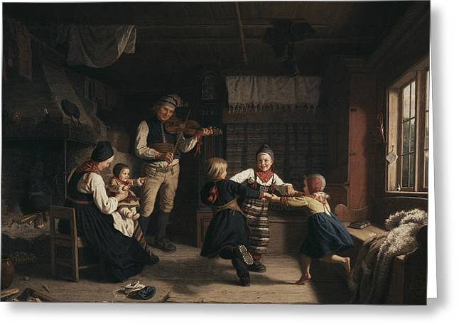 Sunday Evening In A Farmhouse In Dalecarlia Greeting Card by Amalia Lindegren