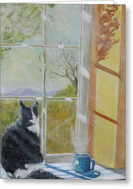 Sunday Mornin  10am With Luna Greeting Card by Terrence  Howell