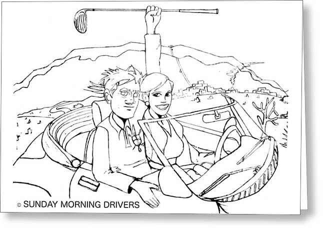 Sunday Morning Drivers Greeting Card by Brian Kennedy Ocean Stream