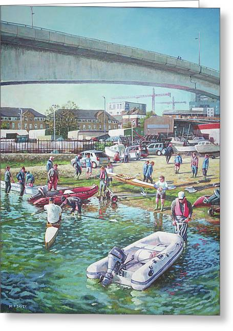 Greeting Card featuring the painting Sunday Morning Rowing At Itchen Bridge, Southampton  by Martin Davey