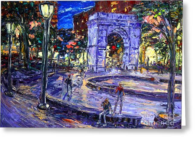 Sunday Night In Washington Square Park Greeting Card by Arthur  Robins