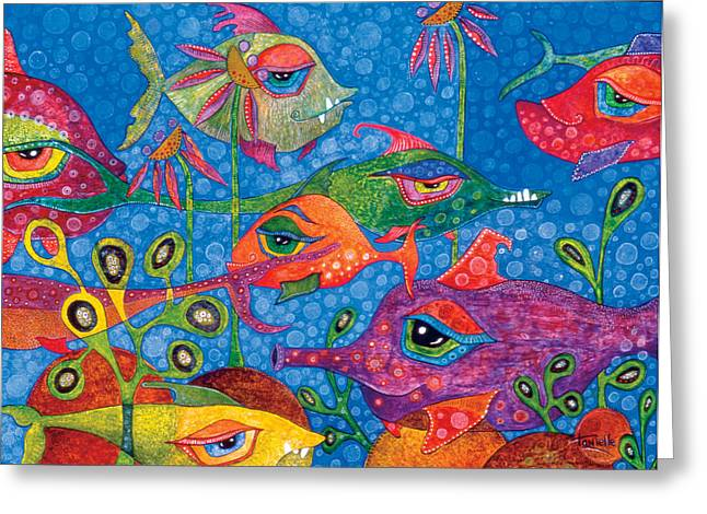 Fish In Ocean Greeting Cards - Sunday Swimmers Greeting Card by Tanielle Childers