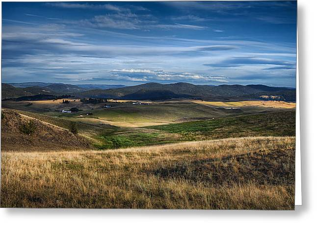 Sundown In Cattle Country Greeting Card by Theresa Tahara