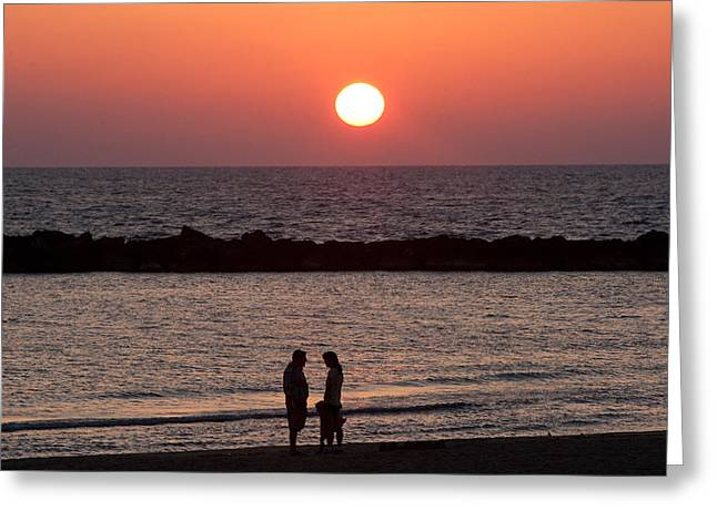 Sundown On Tel Aviv Beach Greeting Card by Paco Feria