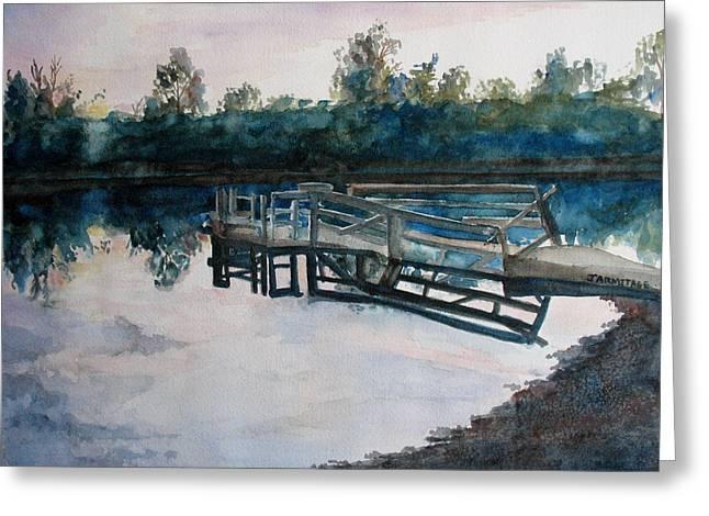 Sundown On The Broken Dock Greeting Card by Jenny Armitage