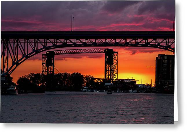 Sundown On The Cuyahoga River Greeting Card