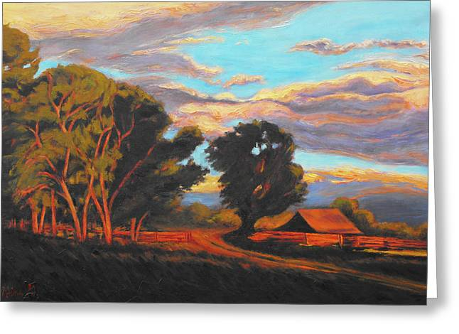 Sundown On The Ranch Greeting Card