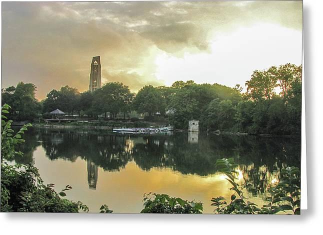 Sundown At The Riverwalk Quarry Greeting Card