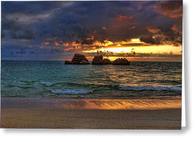 Recently Sold -  - Ocean Landscape Greeting Cards - Sundown Greeting Card by Ryan Wyckoff