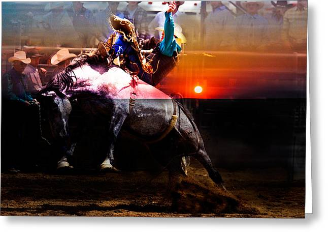 Sundown Saddle Bronc Rider Greeting Card by Mark Courage