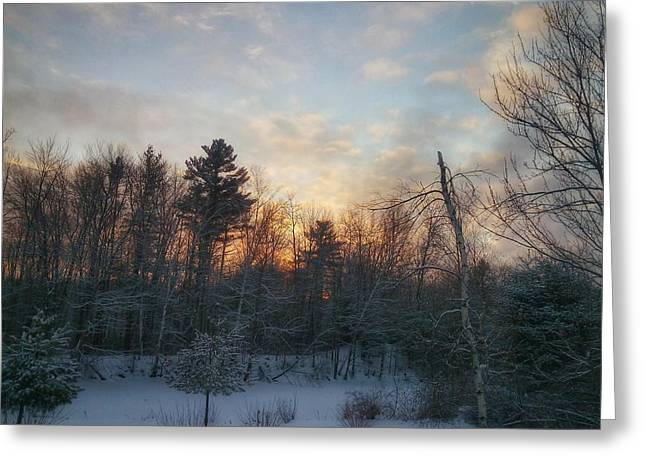 Sundown Winter New England Greeting Card