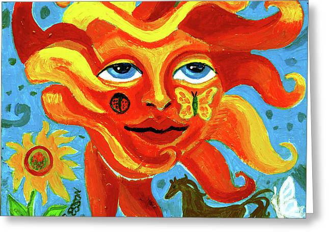 Greeting Card featuring the painting Sunface With Butterfly And Horse by Genevieve Esson
