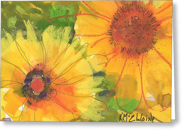 Big Sunflowers Watercolor And Pastel Painting Sf018 By Kmcelwaine Greeting Card by Kathleen McElwaine
