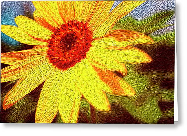 Sunflower Abstract Greeting Card by Les Cunliffe